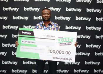 Adomako Baafi wins GHS 100,000 in Betway's Euro Goal Rush Promotion